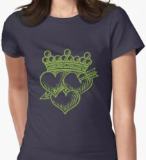 Three Hearts Crown &  Dagger Women's Fitted T-Shirt
