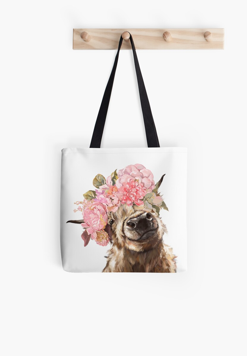 Quot Highland Cow With Flower Crown Quot Tote Bags By Bignosework