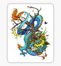 A Blue Dragon Around A Tree Sticker