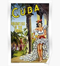 Vintage Cuba Travel Poster Poster