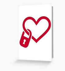 Red heart lock Greeting Card