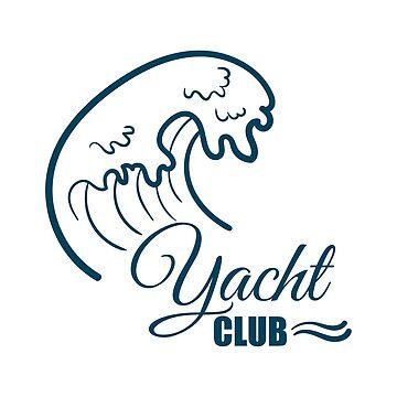 Yacht Club Badge With Wave by Chesnochok