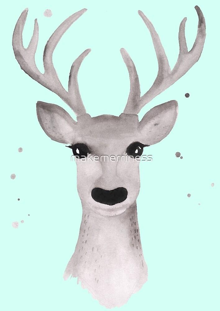 Deer Soft Grey - Mint by makemerriness