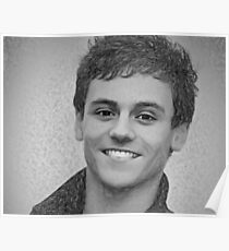 Drawing - Tom Daley handsome smile Poster