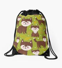 pattern funny brown husky dog and leaves, Kawaii face with large eyes and pink cheeks, boy and girl on green background. Drawstring Bag