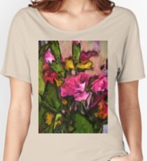 Pink Flowers and Green Leaves with some Yellow Women's Relaxed Fit T-Shirt