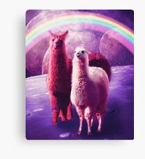 Crazy Funny Rainbow Llama In Space  Canvas Print