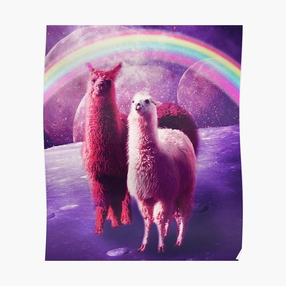 Verrücktes lustiges Regenbogen-Lama im Raum Poster