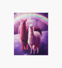 Crazy Funny Rainbow Llama In Space  Art Board