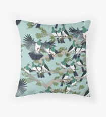 Kereru on turquoise sky - pale branches Throw Pillow
