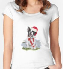 French Bulldog Christmas Holidays Gifts Women's Fitted Scoop T-Shirt