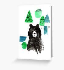 Bernard The Bear - Teal Greeting Card