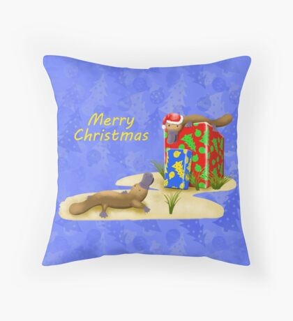Platypus and Christmas Gifts Throw Pillow