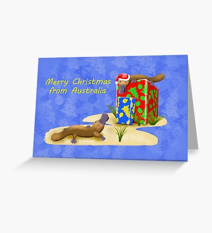 Platypus and Christmas Gifts Greeting Card