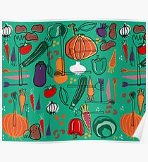 fall veggies green Poster