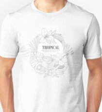 Topical Fruits And Plants Logo Hand Drawn Realistic Sketch T-Shirt