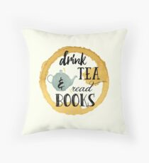 Books and Tea Throw Pillow