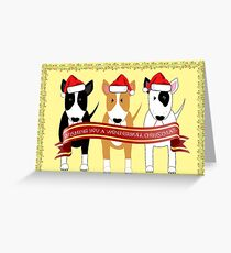 """Wonderbull Christmas"" Bull Terriers by BulliesRule Greeting Card"