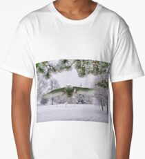 Snowy Owl In A Winter Wonderland Long T-Shirt