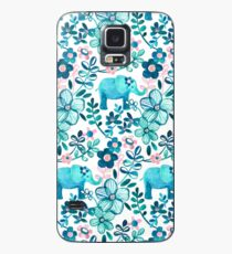 Dusty Pink, White and Teal Elephant and Floral Watercolor Pattern Case/Skin for Samsung Galaxy