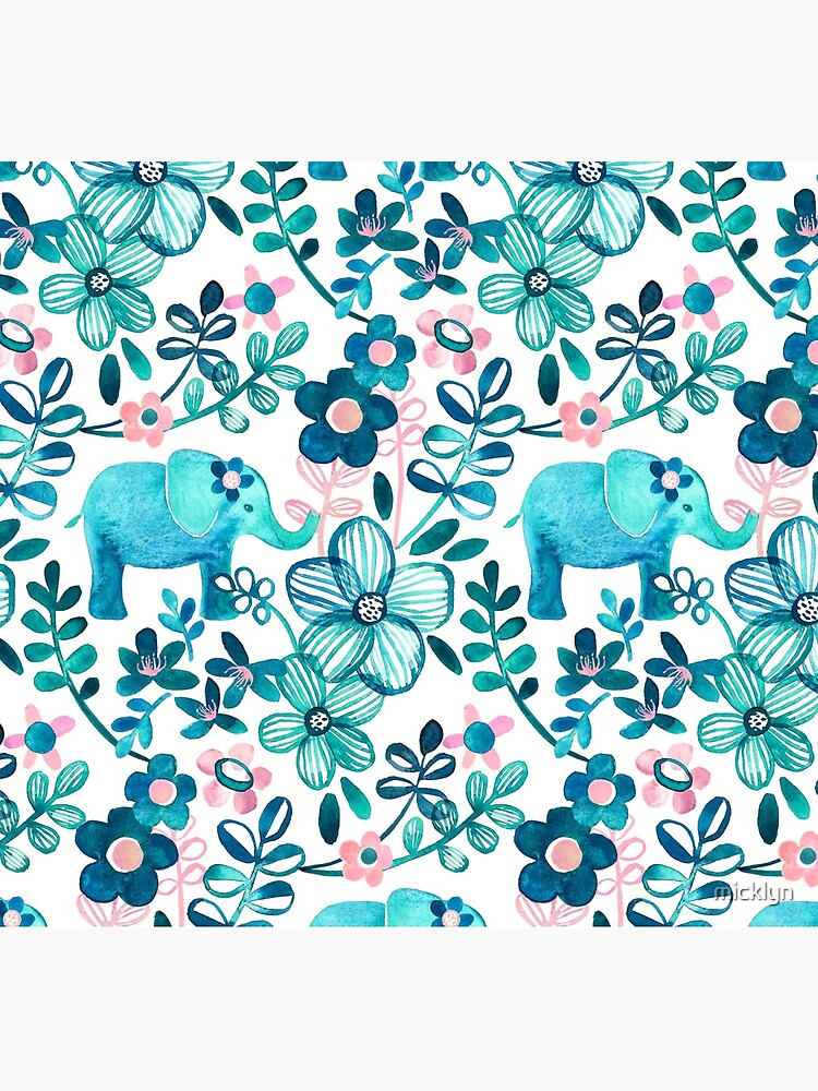 Dusty Pink, White and Teal Elephant and Floral Watercolor Pattern de micklyn