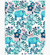 Dusty Pink, White and Teal Elephant and Floral Watercolor Pattern Poster