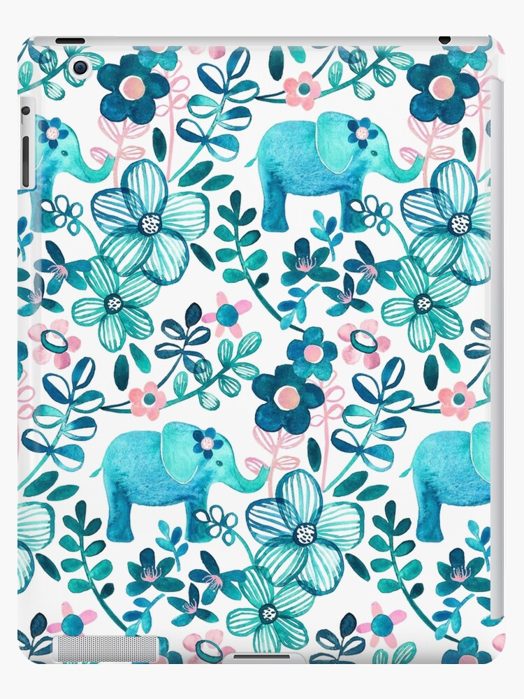 «Dusty Pink, White and Teal Elephant and Floral Watercolor Pattern» de micklyn