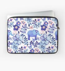 Pale Coral, White and Purple Elephant and Floral Watercolor Pattern Laptop Sleeve