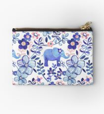 Pale Coral, White and Purple Elephant and Floral Watercolor Pattern Studio Pouch