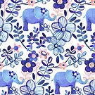 Pale Coral, White and Purple Elephant and Floral Watercolor Pattern by micklyn
