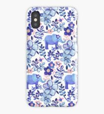Pale Coral, White and Purple Elephant and Floral Watercolor Pattern iPhone Case/Skin