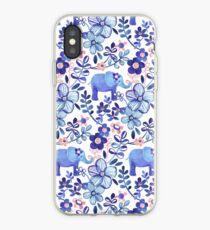 Blasse Koralle, weißer und purpurroter Elefant und Blumenaquarell-Muster iPhone-Hülle & Cover