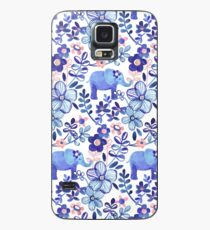 Pale Coral, White and Purple Elephant and Floral Watercolor Pattern Case/Skin for Samsung Galaxy