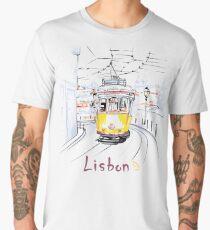 Famous vintage yellow 28 tram in Lisbon Men's Premium T-Shirt