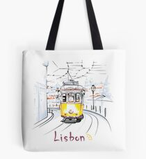 Famous vintage yellow 28 tram in Lisbon Tote Bag