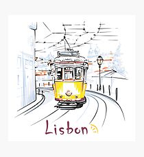 Famous vintage yellow 28 tram in Lisbon Photographic Print