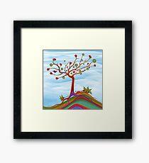 Hedgehogs under fruit tree Framed Print