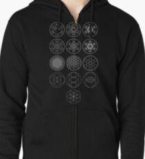 13 Circles of Sacred Geometry [White] | FRESH Zipped Hoodie