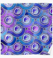 Watercolor Yin yang symbol pattern in purples and blues Poster