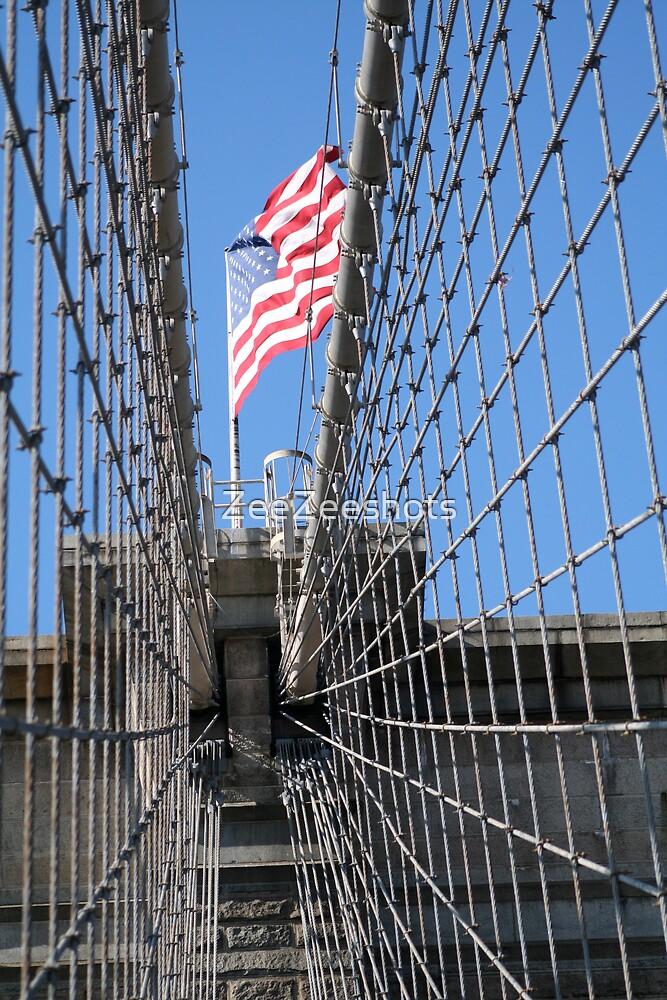 The American Flag on top of the Brooklyn Bridge by ZeeZeeshots