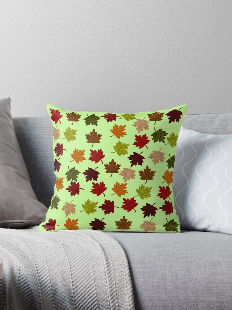 AUTUMN LEAVES ON LIGHT GREEN - FUN FALL MAPLE LEAF PATTERN by ozcushionstoo