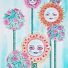 Beautiful Day - Whimsical Floral Watercolor and Ink by Allise Noble