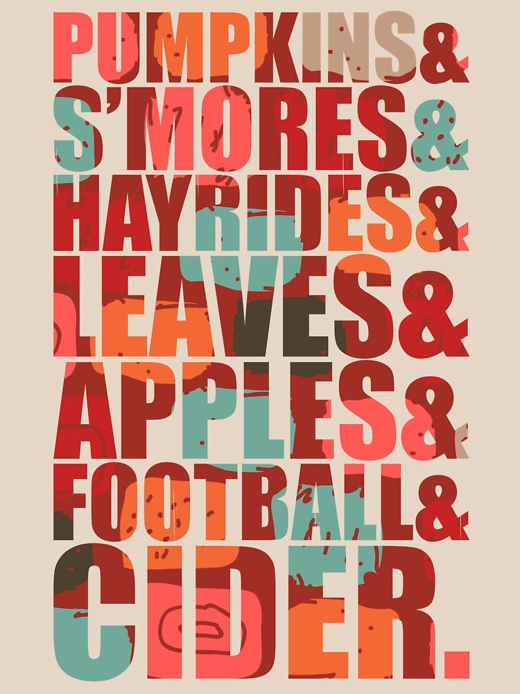 Vintage arrow retro pumpkins s'mores hayrides leaves apples football cider by bestdesign4u