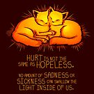 """""""Hurt is not the Same as Hopeless"""" Golden Glowing Kittens by thelatestkate"""