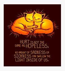 """""""Hurt is not the Same as Hopeless"""" Golden Glowing Kittens Photographic Print"""