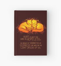 """Hurt is not the Same as Hopeless"" Golden Glowing Kittens Hardcover Journal"