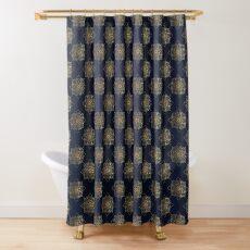 Navy & Gold Damask Pattern Shower Curtain