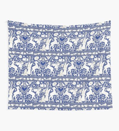 Antique lace - blue and cream (Wedgewood) - Traditional Christmas pattern by Cecca Designs Wall Tapestry