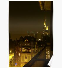Frankfurt Night Streetscape 2 Poster