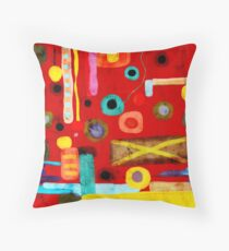 Red Abstract Art Grungy rusted old styled Floor Pillow